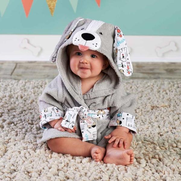 Милый детский банный халат с мышкой пандой, чистый хлопок, купальный Халат с капюшоном, Пляжное банное полотенце, спа-халат с мышкой крысы, пончо для младенцев - Цвет: Dog