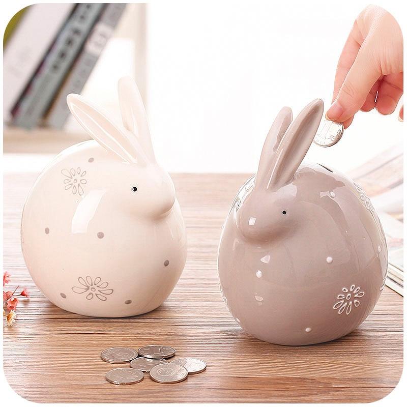 Ceramic Cute Rabbit Lamb Cat Modeling Money Box Coin Piggy Bank Home Decoration Ornaments Children Gifts Kids Birthday Ceremony