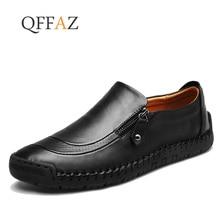 7fa5054b7 QFFAZ 2019 حجم كبير 38-48 العلامة التجارية جلد أصلي للرجال الأحذية أحذية  خفيفة أنيقة