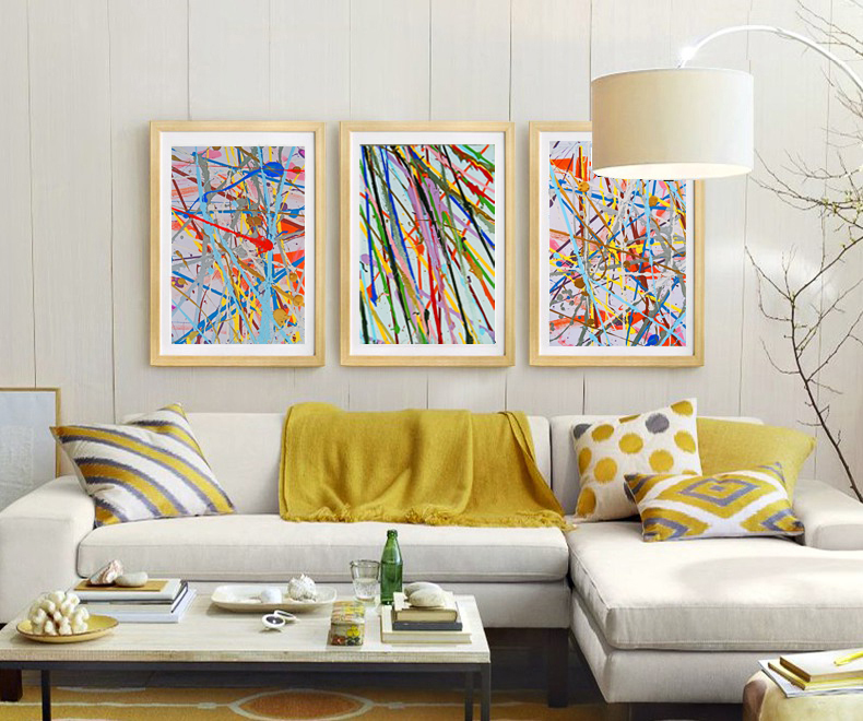 Abstract canvas painting mural prints posters modern for Decorative mural painting