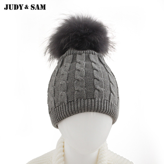 Brand New Warm Winter Pure Cotton Kids Cable Hat Cap with Colorful Raccoon Fur  Pom Poms 9583bf8340d2