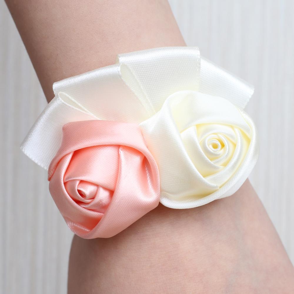 Ivory Silk Rose Fake Flowers Bridesmaid Wrist Corsage Bracelet