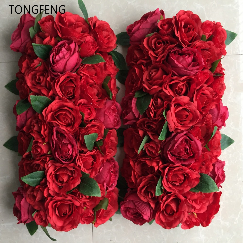 10pcs lot Artificial wedding runner flower row arch decorative silk flower props Wedding decoration flower wall