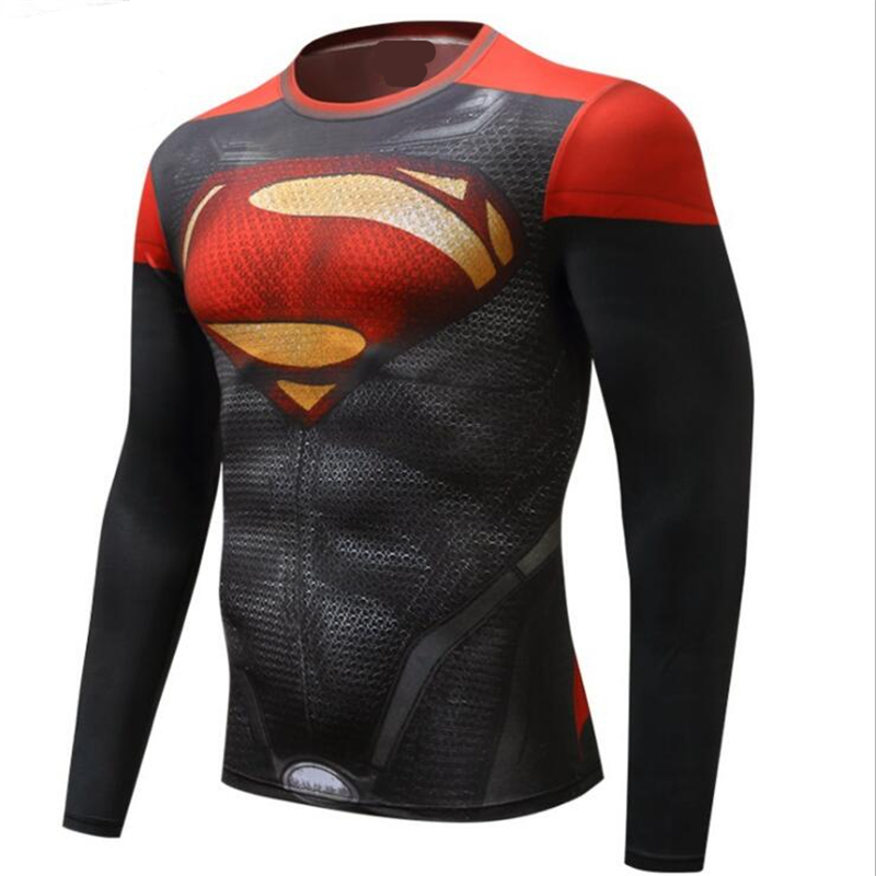 Spring Autumn Spiderman Superman BatmanMen Cosplay Costume Motion T Shirt Compression Tights Tops Free Shipping