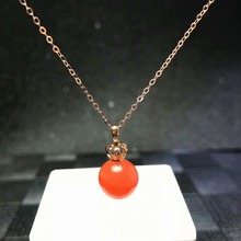 shilovem 18K rose Gold real Natural south Red agate pendants no necklace fine plant Jewelry classic gift mymz9.5-10nh