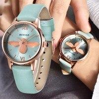 BENYAR Fashion Casual Bee Quartz Watch Women Leather Strap Montre Reloj Mujer Luxury Women Watches Waterproof