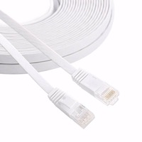20M Pure Copper Wire CAT6 Flat UTP Ethernet Network Cable RJ45 Patch LAN Cable Black White