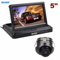 DIYKIT Wired 5 Inch Rear View Monitor Car Monitor + Back Up Rear Front Side View Cam for Parking Assistance System