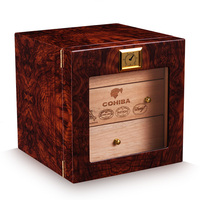 Хьюмидор сигары влаги поле твердая древесина кедра рояльным лаком портсигар шкафы (держать 50 шт.)