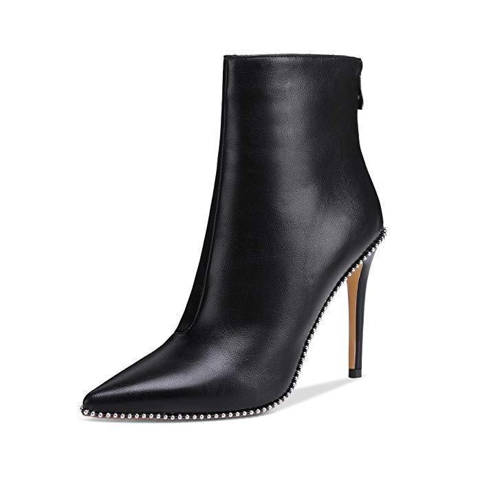 D'hiver Mode Chaussures Bottes Femmes Gladiators Talons Zapatos Mujer Noir En Cuir Cheville Femme Pour Semelle Chaussons De Rivets Lady dCBWroxe