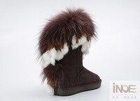 Иноэ женская обувь модные сапоги с натуральным лисьим мехом натуральная кожа коровья замша классические замшевые тёплые уличные ботильоны женская зимняя повседневная обувь зимние сапоги удобные ботинки чёрный