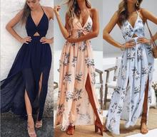 Womens Summer Boho Maxi Long Dress Evening Party Beach Dresses Sundress Floral Halter 2019