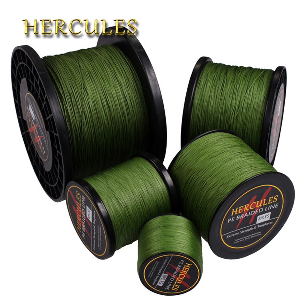 цена на Hercules Braided Fishing Line Sea Saltwater Fishing 8 Strands Army Green 100M 300M 500M 1000M 1500M 2000M 100% PE
