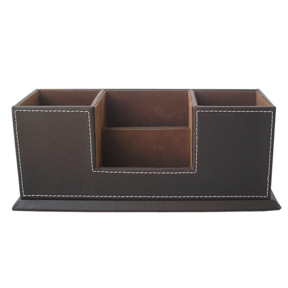 Double Holder Desktop Faux Leather Storage Box 4 Divided Compartments for Pen Business Card Remote Control DeskOrganizer Brown-in Stationery Holder from ...  sc 1 st  AliExpress.com : faux storage box  - Aquiesqueretaro.Com