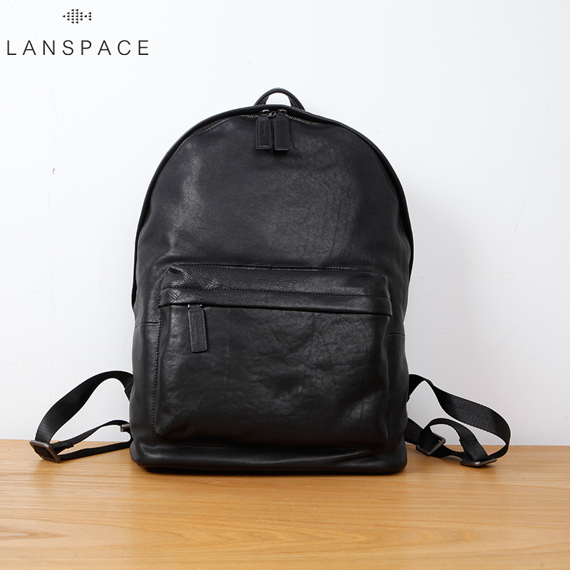 LAN men s cow leather backpack fashion genuine leather backpack casual travel bag
