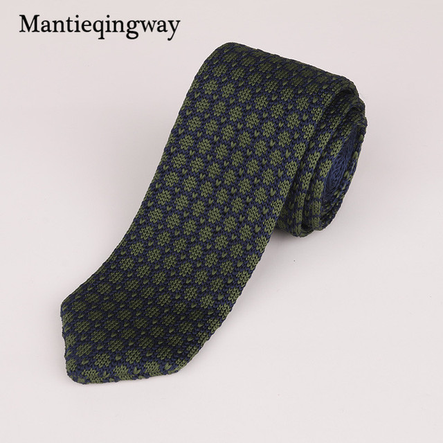 Mantieqingway 6cm Fashion Skinny Mens Tie Knit Necktie Classic Striped Knitting Tie Male Casual Business Ties for Men Wedding