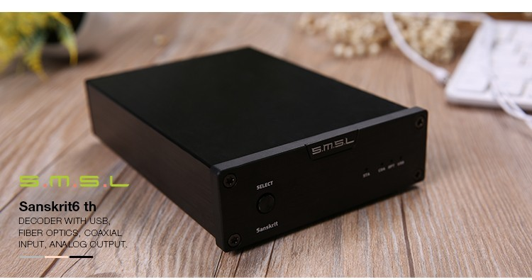 SMSL Latest 6th Sanskrit USB DAC 32BIT192Khz Coaxial SPDIF Optical Hifi Audio Amplifier Decoder New Version With Power Adapter 2