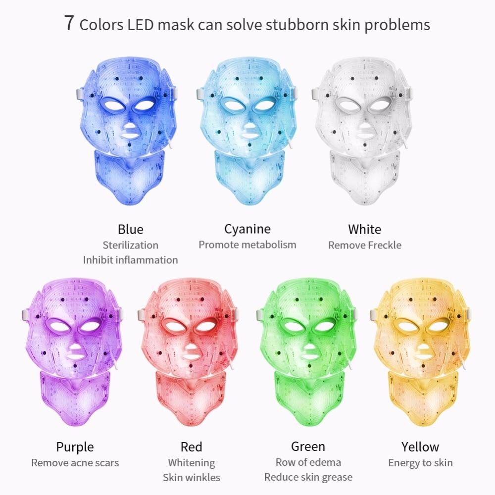 Foreverlily LED máscara Facial terapia 7 colores cara máscara de fotones de terapia de luz de cuidado de la piel arruga eliminación de acné belleza de rostro. - 4