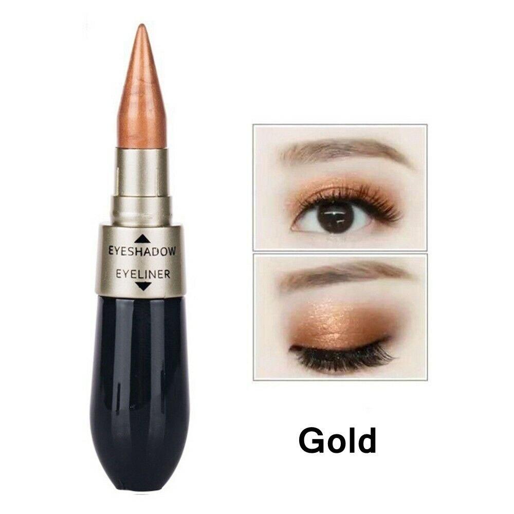 Новинка 2 в 1 тени для век подводка для глаз ручка черная жидкая подводка для глаз Карандаш блеск Тени для век двухсторонний инструмент для макияжа для глаз - Цвет: 03