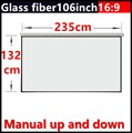 106Inch 16:9white glass Manual hand portable projector screen with 1.3gain Projector projection screen Wall Mounted HD 3D screen