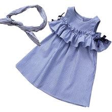 Summer Baby Girls Dress Cute Striped Cotton Ruffle Sleeve A-line Dresses 2017