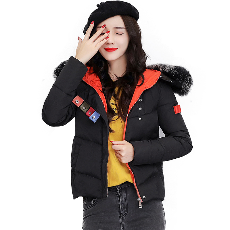 Nice Black New Parkas Female Winter Fur Collar Hit Color Snow Coat Wadded Jacket Female Jackets Womens Outwear For Women Winter