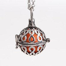 5pcs/lot Infinity Pattern Hollow Cage Chime Box Bola Belly Bell Musical Sound Ball Pendant Pregnancy Maternity Necklaces HCPN64