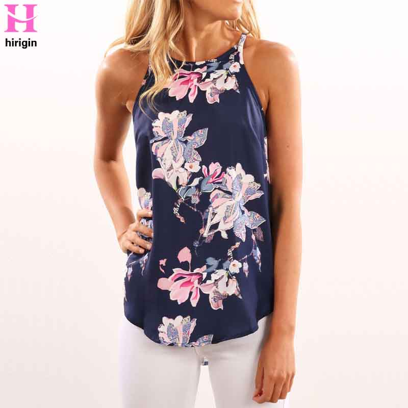 Women Blouses 2018 Casual Elegant OL Floral Blouse Slim Sleeveless Work Wear Blusas Feminina Tops Shirts Plus Size