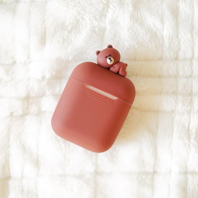 Super Cute Sleeping Animals Soft Silicone AirPod Case Cover 3