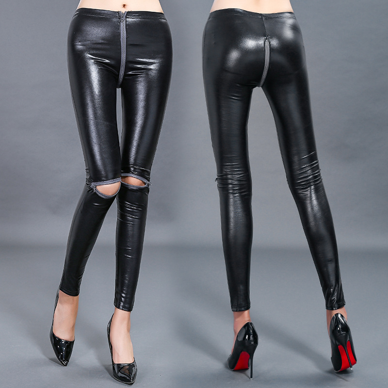 New 2018 Spring Autumn Zipper Women   Leggings   Sexy PU   Leggings   Pants Female Feet   Legging