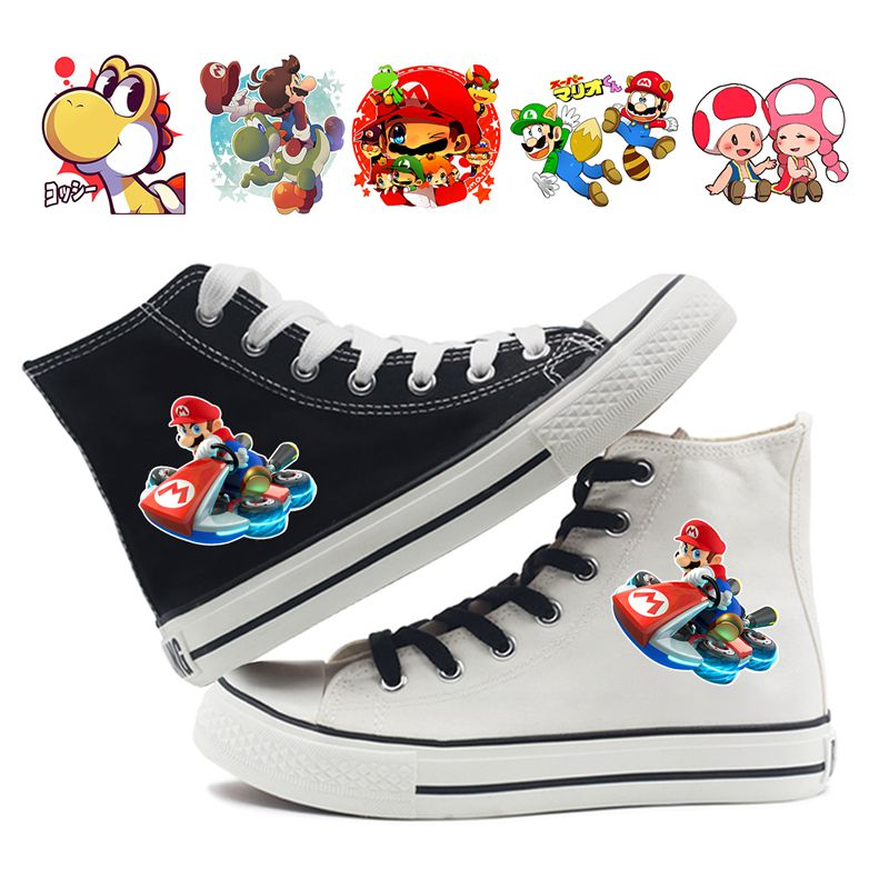 Mario Bros Game Print Cartoon High Top Breathable Canvas Uppers Sneakers College Customized Fashion Shoes A193161