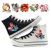 Mario Bros Game Print Cartoon High Top Breathable Canvas Uppers Sneakers College Customized Fashion Shoes A193161 cartoon print top