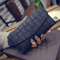 2016 new hand bag wallet purse embossed woven long hasp female bag retro fashion fabric white black leather PU