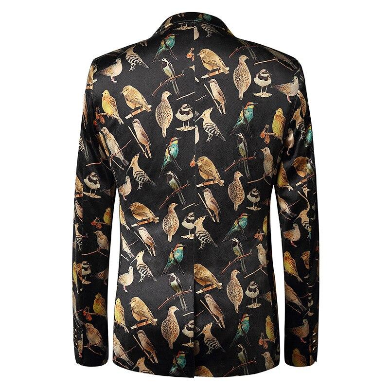 Plus Größe 3D Gedruckt Vögel Blazer Männer Giacca Uomo Elegante Slim Fit Anzug Jacke Stilvolle Beiläufige Hochzeit Männer Blazer Designs M 3XL - 2