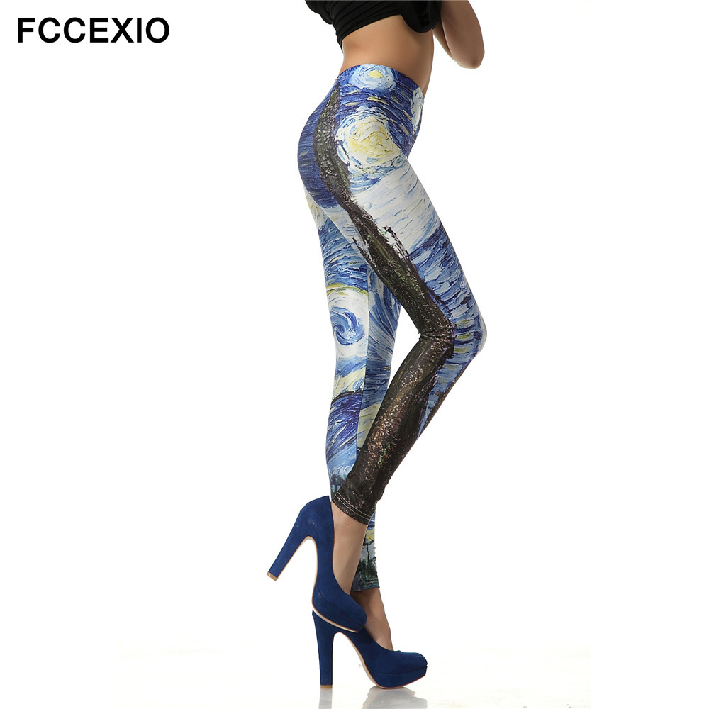 FCCEXIO Brand Slim High Waist Leggings Women Pants European And American Style 3d Printed Galaxy Van Gogh Starry Night Leggings