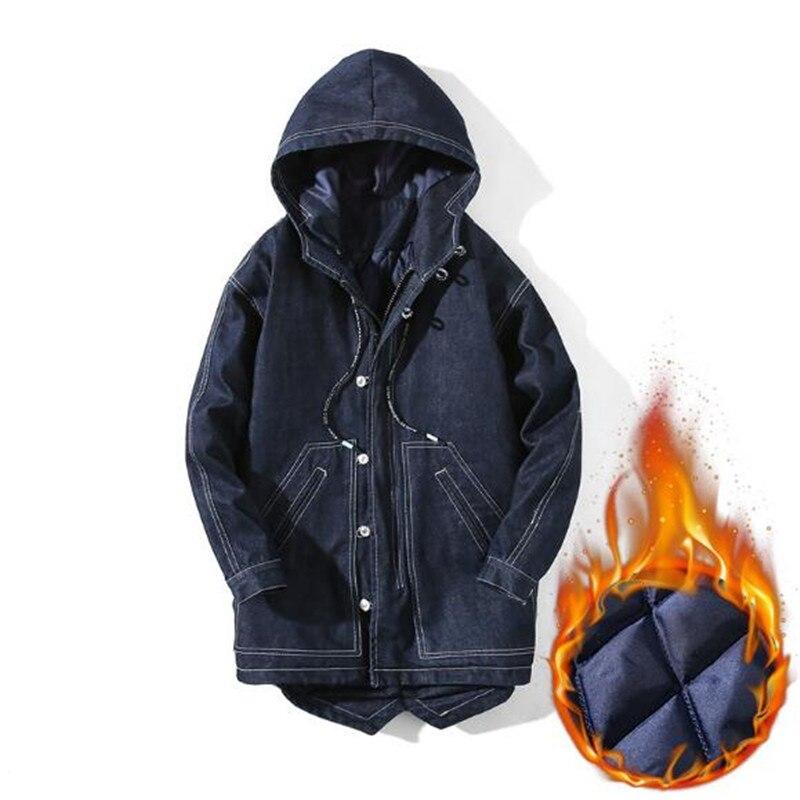 Джинсовая куртка 2019, зимняя Модная парка, Мужская Толстая теплая куртка на молнии, длинная приталенная Повседневная однотонная куртка с кап...