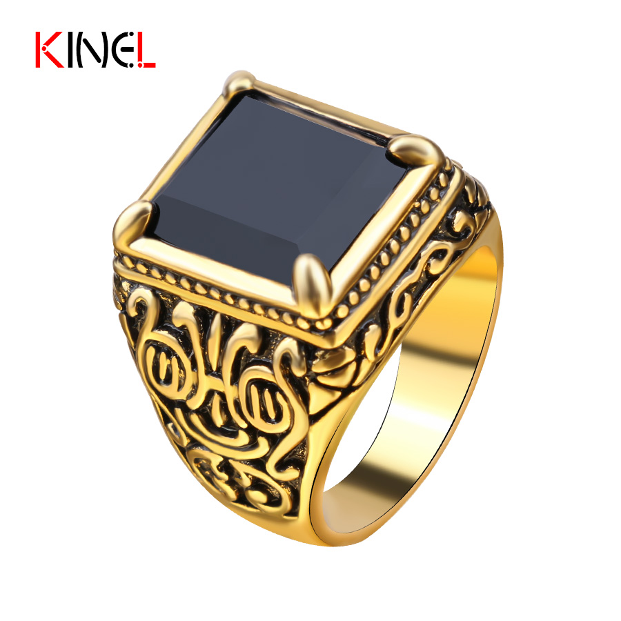 Vintage Punk Gold Plated Mens Rings Square Totem Charm Black Big Wedding  Ring Men Personalized Hip