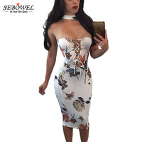 Sebowel White Sexy Bodycon Midi Dress Sleeveless Slim Long Strapless Boho Dress Bohemian Ladies Casual Summer