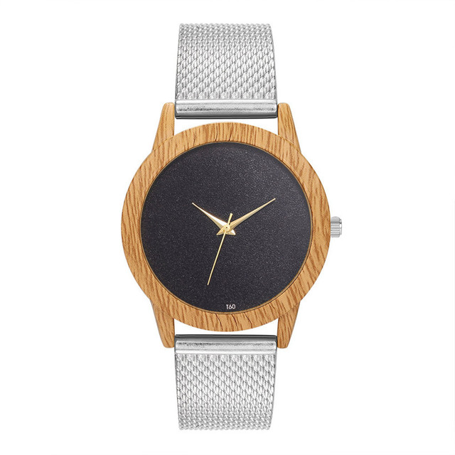 Creative Watches Women Plastic Band Bamboo Case Lady Wrist Watch Wooden Light Black Dial Modern New Style Analog Clock 2