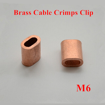 10pcs 6mm M6 Brass Cable Crimps Sleeve Single Hole Ferrule Crimping ...