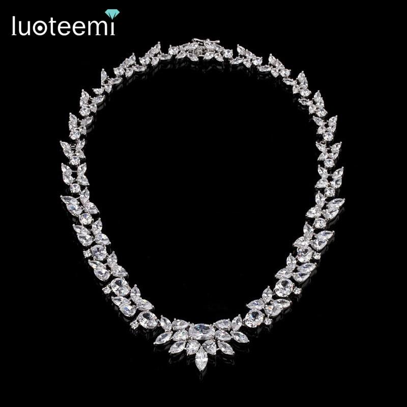 LUOTEEMI Kalung / Anting Set Perhiasan Batu CZ Elegan Set untuk - Perhiasan fashion - Foto 2