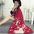 2016 de Invierno Para Mujer de Moda Bufandas de Cachemira Chales De Lana de La Vendimia de Doble Uso Rojo Ciervo de Navidad Ucrania Wraps Cálida Suave Sjaals