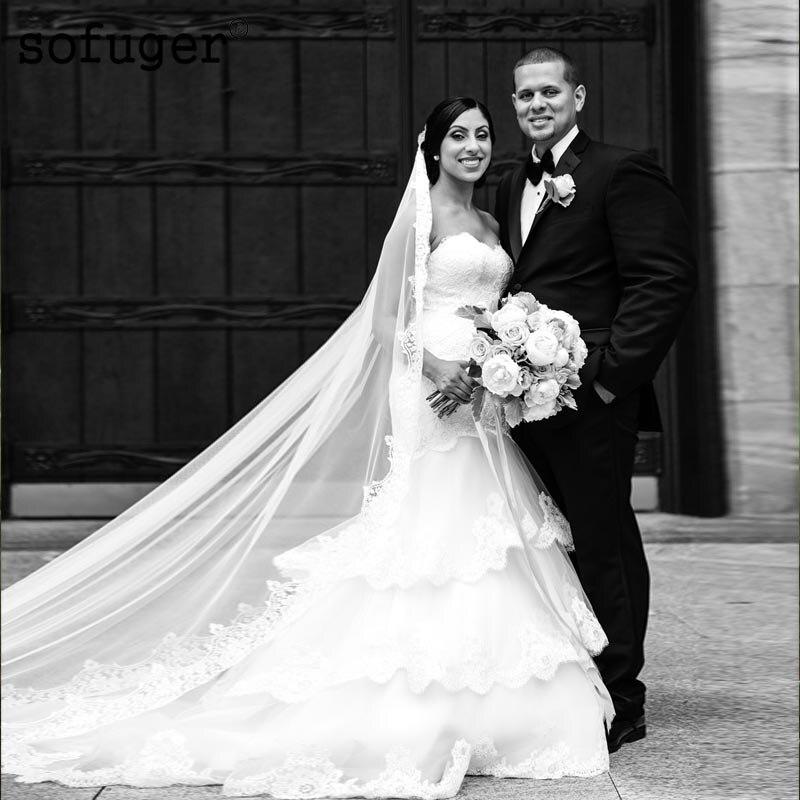 White Long Elegant Strapless Sexy Sweetheart Tulle Tiered Weddding Dresses Zipper Bridal Gown Wedding Vestidos De Noivas Custom