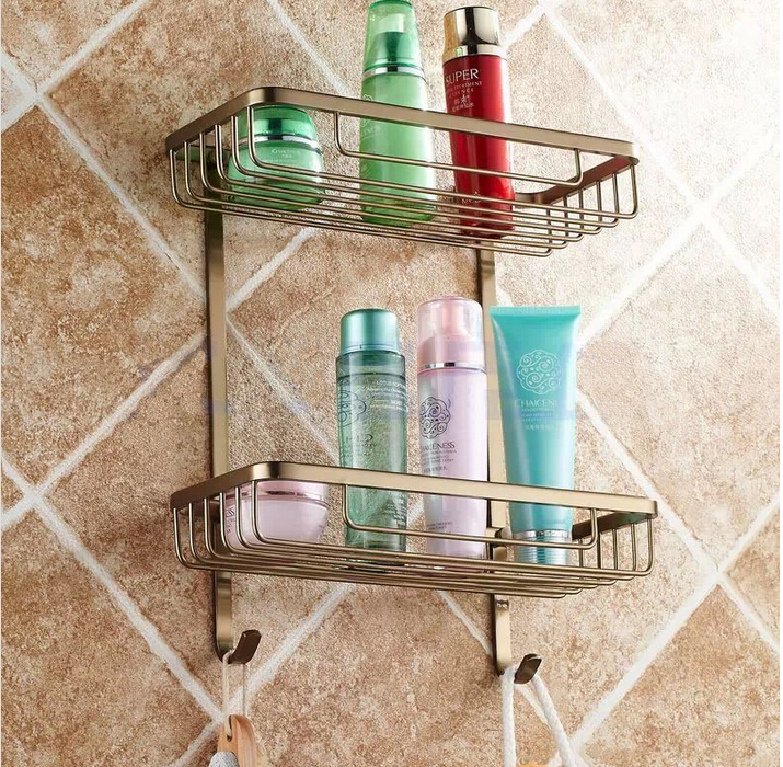 Top quality antique bronze double tiers bathroom shelves basket holder bathroom soap holder bathroom shampoo shelf top quality brass antique bronze double tiers bathroom shelves basket holder bathroom soap holder bathroom shampoo shelf
