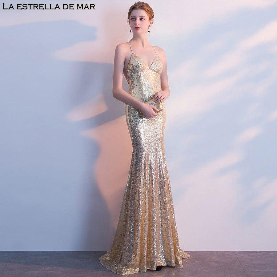 Robe de festa longo2018 cou sexy sirène or noir paillettes robe de demoiselle d'honneur jolie robe de mariee pas cher brautjungfernkl