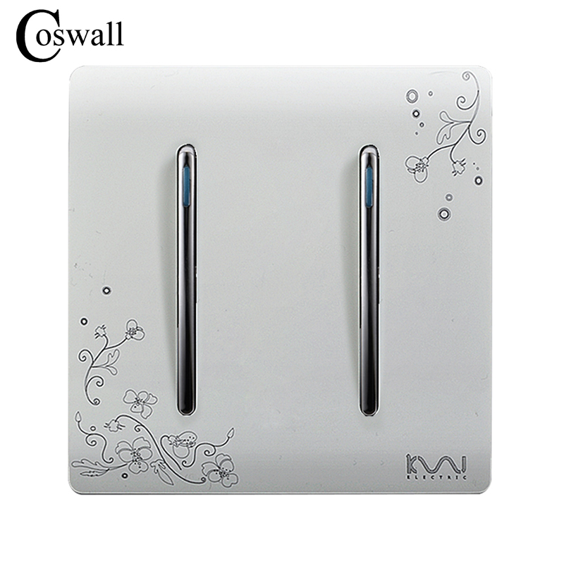 COSWALL Fashion Wall On / Off Switch 2 Gang 1 Way Ivory White Brief Art Weave Light Switch AC 110~250V
