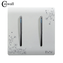 COSWALLแฟชั่นOn/Off Switch 2 Gang 1 Wayงาช้างสีขาวสั้นศิลปะสานแสงAC 110 ~ 250V