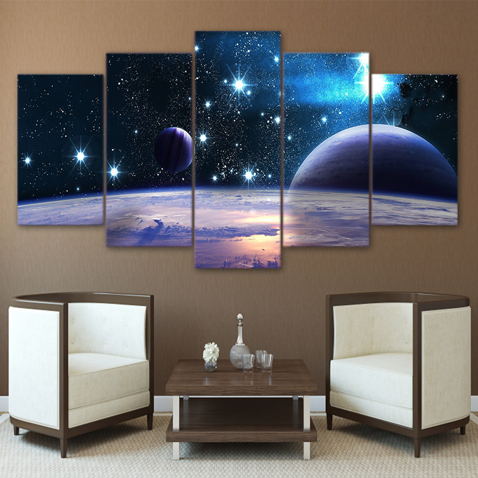 Poster Prints Modular-Picture Art-Painting Planet Space Wall Universe Reflection Canvas Hd