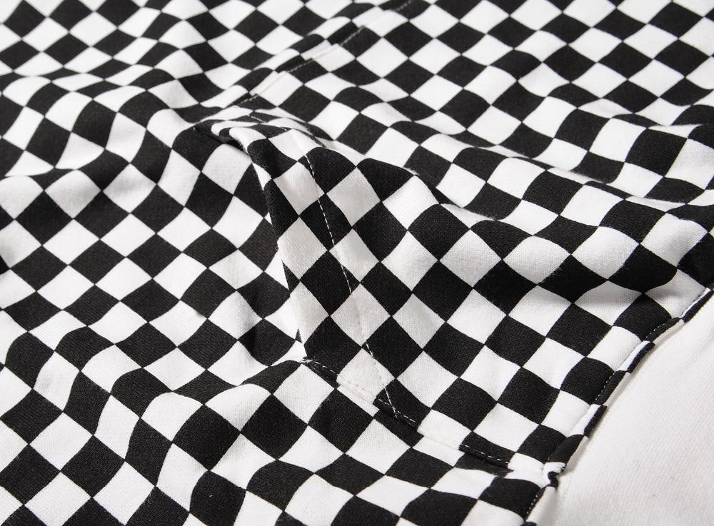 HIPFANDI High Street Fashion Casual black White Sweatshirts Justin Bieber Style Checkerboard Lattice Men Brand Pullover Hoodies