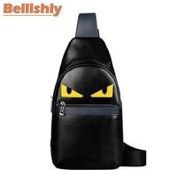 Bellishly Men's Fashion Chest Bag Bugs Cartoon eyes Male Crossbody Bags Boys Genuine Leather Shoulder Messenger Cell Phone Borse